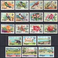 F0135 ANTIGUA 1975, SG 469A-486A  Definitives (no Date Imprint), Birds, Flowers,  MNH - Antigua And Barbuda (1981-...)