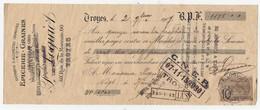 Mandat à En-tête Publicitaire Epicerie Graines Salaisons En Gros Cafés Allumettes F Loguiot Troyes 1907 Timbre - Frankrijk