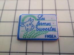Pin1415c Pin's Pins / Rare Et De Belle Qualité : ANIMAUX / VACHE VEAU BOEUF TAUREAU FNSEA LES FERMES OUVERTES - Animaux