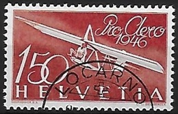 Schweiz Suisse 1946: Pro Aero Zu F41 Mi 470 Yv PA 40 Mit Halbmond-o (demi-lune) LOCARNO (Zu CHF 65.00) - Luftpost