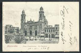 +++ CPA - Amérique - Uruguay - MONTEVIDEO - Plaza Constitucion - La Catedral   // - Uruguay