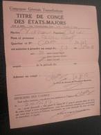 1959 OFFICIER RADIO S/S VILLE D'ORAN ALGÉRIE COMPAGNIE GÉNÉRALE TRANSATLANTIQUE ETAT MAJOR TITRE PERMISSION Signé-MARINE - Titres De Transport