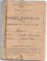 LIVRET INDIVIDUEL POUR RESERVISTE DE L'ARMEE DE MER -MARINE NATIONALE FRANCAISE-TOULBROC'H 1954+ - Documents