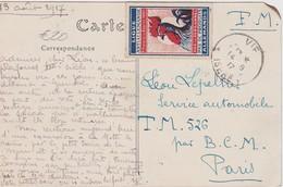 FRANCE 1917 CARTE EN FRANCHISE MILITAIRE DE VIF AVEC VIGNETTE ANTIALLEMANDE - Poststempel (Briefe)