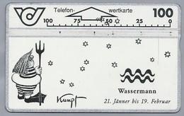 AT.- Telefoonkaart. Telefon-wertkarte. Telefonwertkarte. Wassermann 21 Jänner Bis 19 Februar. Kumpf. Oostenrijk. 232A - Zodiaco