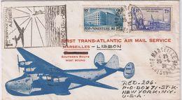 Busta Primo Servizio Postale Aereo Francia-USA Utilizzata Con Volo Marseilles - Lisbon Viaggiata 5/1939 - Francia