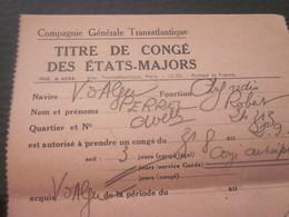 1956 OFFICIER RADIO S/S VILLE D'ALGER ALGÉRIE COMPAGNIE GÉNÉRAL TRANSATLANTIQUE ETAT MAJOR TITRE PERMISSION Signé-MARINE - Titres De Transport