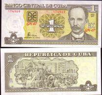 """CUBA - Banknote Of  1 Peso  """"José Marti""""  - 2007  -UNC - Cuba"""