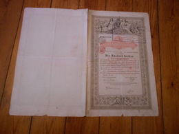 Obligation De La Dette Publique  De 100 Florins Autrichiens Vienne 1868 Wien Staatsschuldverschreibung N°362755 - Banque & Assurance