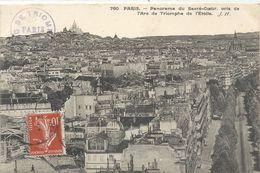 760. PARIS . PANORAMA DU SACRE COEUR PRIS DE L'ARC DE TRIOMPHE DE L'ETOILE .AFFR LE 13-6-1911 SUR RECTO - Sacré Coeur