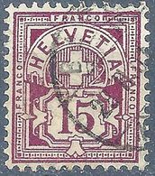 Ziffer 64B, 15 Rp.bräunlichrotlila  BASEL      1901 - 1882-1906 Coat Of Arms, Standing Helvetia & UPU