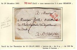JURA : 38 DOLE 22 X 12mm Sur LSC En 1803 - Marcophilie (Lettres)