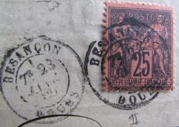 Lot FD/1351 - SAGE Type II N°91 (sur Fragment) - CàD : BESANCON (Doubs) 23 JANVIER 1880 - 1876-1898 Sage (Type II)