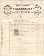 42 RIVE DE GIER LOIRE FACTURE 1909 Service Par Corbillard TALENCIEUX Travaux Funéraires  * A16 - 1900 – 1949