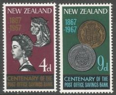 New Zealand. 1967 Centenary Of NZ Post Office Savings Bank. MH Complete Set. SG843-844 - New Zealand