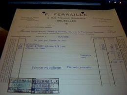 Facture Grossiste En  Tabac FERRAILLE Bruxelles Rue Francois Bossaerts  Annee  1923 Avec Fiscaux  Belgique - Imprimerie & Papeterie