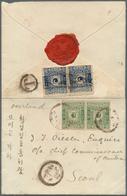 Br Korea: 1895/96: 5 P. Bluish Green And 10 P. Dull Blue, Each Second Printing Horizontal Pair, 5 P. Ca - Korea (...-1945)