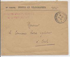 1915 - ENVELOPPE FM De L'INSPECTION GENERALE TECHNIQUE DE LA POSTE MILITAIRE - SP 1=> COMMISSAIRE POSTAL à CREIL (OISE) - Marcophilie (Lettres)
