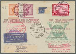 "Br Katapult- / Schleuderflugpost: 1931, Combination Cover Zeppelin/Catapult Flight: Card Of Zeppelin ""E - Luftpost"