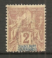 GUADELOUPE -  Yv. N°  28  (o)  2c  Lilas Brun S Paille  Cote 1,5 Euro BE 2 Scans - Guadeloupe (1884-1947)
