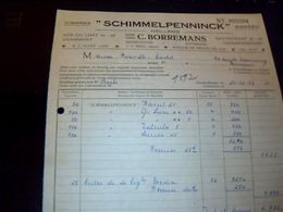 "Facture Tabac Cigares  ""schimmelpenninck "" Hollande Firme Borremans Rue Du Chat  A Grammont Annee 1958  Avec Fiscaux - Netherlands"