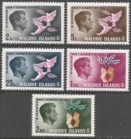Maldives. 1965 Second Death Anniv Of President Kennedy. MH Complete Set. SG 160-164 - Maldives (1965-...)