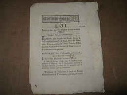 LOI RELATIVE EMISSION DES ASSIGNATS 100 MILLIONS 1791 HISTOIRE ECONOMIE REVOLUTION CAEN - ...-1889 Circulated During XIXth