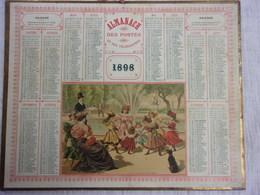 """1 CALENDRIER ALMANACH DES POSTES 1898 """"AU JARDIN DU PALAIS ROYAL""""GARD 26,5 X 21CM SUPERBE ETAT COMPLET.PLIURE+DECHIRURE - Calendars"""