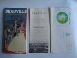 DEAUVILLE LA PLAGE FLEURIE. SAISON DE PÂQUES À L'AUTOMNE - FRANCE, CALVADOS, NORMANDIE, 1950. DESSIN REUIL. - Dépliants Touristiques