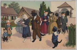 Katzen Cat Chats Katzentaufe - Max Künzli No. 4723 - Gekleidete Tiere