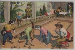 Katzen Cat Chats Beim Boccia Spielen - Max Künzli No. 4739 - Cachet: Bellelay - Gekleidete Tiere