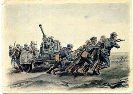 """Carte Allemande Illustrée : """"Flak-Geschütz Wird In Stellung Gebracht"""". - War 1939-45"""