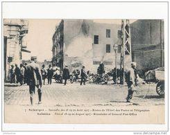 GRECE SALONIQUE INCENDIE RESTE DE L'HOTEL DES POSTE GUERRE 1914 CPA BON ETAT - Greece