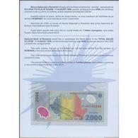 TWN - ROMANIA 111b - 2000 2.000 Lei 1999 (2000) Polymer - Total Solar Eclipse 1999 - Prefix 1A - Folder UNC - Rumänien