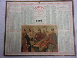 """2 CALENDRIER ALMANACH DES POSTES 1898""""LES PREMIERES ORANGES""""GARD 26,5 X 21CM BON ETAT COMPLET.PLIURES+PETITES DECHIRURES - Big : ...-1900"""
