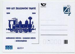 CZECH REPUBLIC 1999 4 Kc Railway Centenary Privately Printed Postcard Unused. - Entiers Postaux