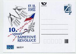 CZECH REPUBLIC 1999 4 Kc Velvet Revolution Anniversary Privately Printed Postcard Unused. - Postal Stationery