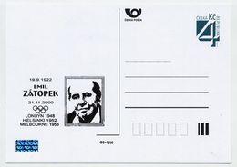 CZECH REPUBLIC 1999 4 Kc Emil Zatopek (athlete) Privately Printed Postcard Unused. - Postal Stationery