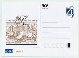 CZECH REPUBLIC 1999 4 Kc Cartography Postcard Unused.  Michel P27-B1 - Postcards