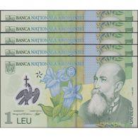 TWN - ROMANIA 117c - 1 Lei 1.7.2005 (2007) DEALERS LOT X 5 - Polymer - Prefix 2A UNC - Romania