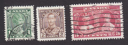 Canada, Scott #211-213, Used, Princess Elizabeth, Duke Of York, King George V And Queen Mary, Issued 1935 - 1911-1935 Reign Of George V