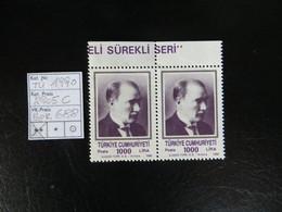 """1990  """" Freimarke Atatürk """"  10000 Lira Im Pärchen Aus Bogenrand, Sauber Postfrisch   LOT 688 - 1921-... Republik"""