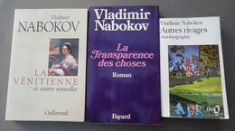 Lot De 3 Romans - Vladimir Nabokov - La Vénitienne -La Transparence Des Choses - Autres Rivages Autobiographie - Books, Magazines, Comics