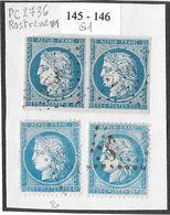 TIMBRES  N°60/1  145/146  G1  NON DENTELÉ (paire Cérès 1850) + En Dentelés De 1871 En Détachés ;  TTB - 1871-1875 Cérès