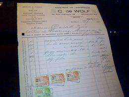 Facture Papeterie  De L Esperence C. De Wolf  A Bruxelles -midii Belgique Annee 1931  Fiscaux - Imprimerie & Papeterie