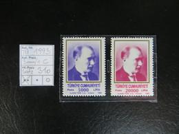 "1993  "" Freimarke Atatürk ""  5000 + 20000 Lira,  Tadellos Postfrisch,  LOT 310 - 1921-... Republik"