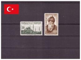 Turquie 1957 - MNH ** - Mosquées & Synagogues - Célébrités - Michel Nr. 1528-1529 Série Complète (tur278) - 1921-... Republic