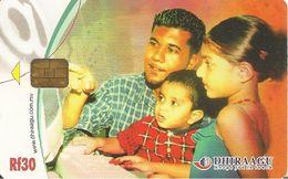 CARTE-PUCE-MALDIVES-DHIRAAGU-FAMILLE TELEPHONANT-TBE - Maldives