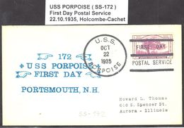 """US Navy, USS""""PORPOISE"""" (SS-172) FD Postal Service 1935, Look Scan, RARE !! 15.3-38 - Sous-marins"""