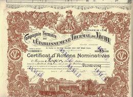 """""""L'ARGENT DES THERMES"""" CIE FERMIERE DE L ETABLISSEMENT THERMAL DE VICHY ACTIONS NOMINATIVES 1921 B.E.V.SCANS - Scheepsverkeer"""